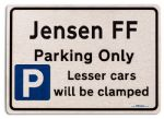 Jensen FF Car Owners Gift| New Parking only Sign | Metal face Brushed Aluminium Jensen FF Model